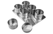 New 6 Piece Magnetic Spice Rack Space Saver w/ See-Through Lids