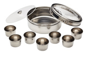 Kitchen Craft World of Flavours Stainless Steel Authentic Indian Patterned Masala Dabba Spices & Herbs Tin Jar Pot Storage Container Transparent Double Lid Spice Box