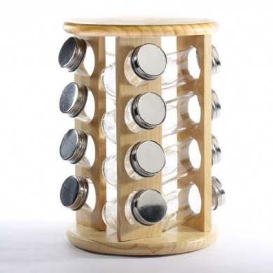Swivel Style Light Wood Spice Rack with 16 Spice Jars for Home