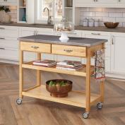 Home Styles 90cm H x 110cm W x 50cm - 1.3cm D Stainless Steel Top Kitchen Cart/Work Centre