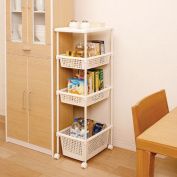 Kitchen Cart for Narrow Space Laundry Rack w/ wheels for Small Space MKW-4W1D