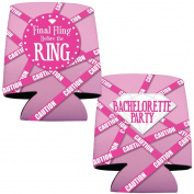 """Bachelorette Drink Koozies -""""Final Fling..."""" Pink Caution Tape - For Party/12"""
