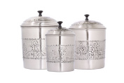 "Old Dutch 3- Piece Antique Embossed ""Victoria"" Canister Set, 5.2l, 5.2l, 3Q"