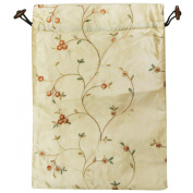 Wrapables Beautiful Embroidered Silk Travel Bag for Lingerie & Shoes - Beige