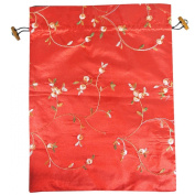 Wrapables Beautiful Embroidered Silk Travel Bag for Lingerie & Shoes - Red