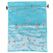Wrapables Beautiful Embroidered Silk Travel Bag for Lingerie & Shoes - Sky Blue