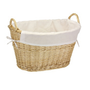 Household Essentials Split Willow Lined Laundry Basket with Handles, Natural