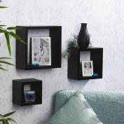 Melannco Black Square Shelves, Set of 3