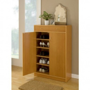 Five Shelf Beech Finish Shoe Storage Cabinet