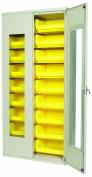 Akro-Mils AC3618 QV250 Steel Quick View Storage Cabinet, Flush See-Thru Doors, Louvred Panel, 18 Yellow AkroBins, 90cm W x 46cm D x 200cm H