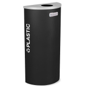 Ex-Cell Kaleidoscope Collection Recycling Container - Half Round Container With Plastic Lid - Black - Black
