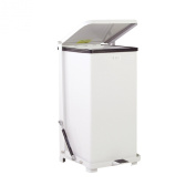 Rubbermaid Commercial Steel 90.8l The Silent Defenders Quiet Step Trash Can with Plastic Liner, Square, 38cm Width x 38cm Depth x 80cm Height, White