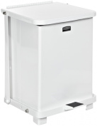 "Rubbermaid Commercial Steel 26.5l The Defenders Step Trash Can with Retainer Bands, Legend ""Caution, Chemotherapy Waste, Dispose of Property, Handle with Care"", Square, 30cm Width x 30cm Depth x 43cm Height, White"