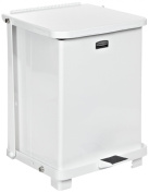 "Rubbermaid Commercial Steel 151.4l The Defenders Step Garbage Can with Plastic Liner, Legend ""Bio Hazard"", Square, 48cm Width x 48cm Depth x 80cm Height, White"