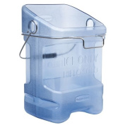 """Rubbermaid Commercial 9F54 20.8l Ice Tote with Bin Hook Adapter, Legend """"Ice Only, Hielo Solo"""", Rectangular, 34cm Width x 31cm Depth x 45cm Height, Transparent Blue"""