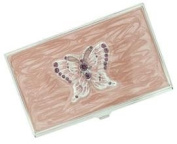 Nova Pink Butterfly with Purple Crystals Business Card Case - V707B