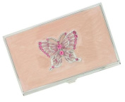 Visol V708B Flutter Pink Butterfly with Pink Crystals Business Card Case