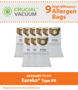 9 Eureka Style RR Allergen Filtration Vacuum Bags - Compare With Eureka Part # 61115, 61115A, 61115B; Designed & Engineered by Crucial Vacuum