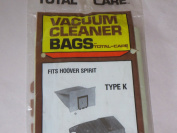 Vacuum Cleaner Bags Fits Hoover Spirit Type K -- New Old Stock -- Pkg of 2