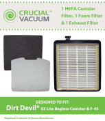 1 Dirt Devil F45 HEPA Canister Filter, Foam Filter & Exhaust Filter Fits Dirt Devil F45, Pets Canister Vacuum SD40000, & EZ Lite Canister SD40010 . Part # 2KQ0107000, 2KQ0104000, 1KQ0106000; Designed & Engineered By Crucial Vacuum