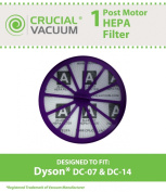 Dyson DC07, DC14 Purple Post-Motor HEPA filter ; Replaces Dyson DC-07, DC-14 Vacuum Part # 901420-02; Designed & Engineered By Crucial Vacuum