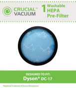 Dyson DC17 (DC-17) Washable & Reusable Replacement Micro Allergen Pre-filter Fits ALL Dyson DC17 models. Dyson Pre-Motor filter Part # 911236-01; Designed & Engineered By Crucial Vacuum