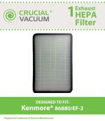 Kenmore 86880 EF-2 Exhaust HEPA Vacuum filter .  Sears Kenmore Part# 86880 (or 20-86880), 40320, EF2 & Panasonic Part # MC-V194H (MCV194H); Designed & Engineered by Crucial Vacuum