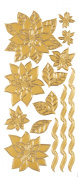Stickers Gold Poinsettias