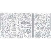 Dazzles Stickers 3/Pkg-Silver Wedding & Anniversary