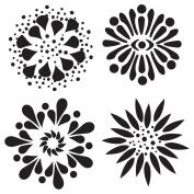 15cm x 15cm Design Template 4 Flowers