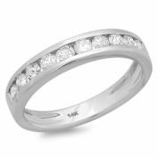 0.60 Carat (ctw) 14k White Gold Round Diamond Ladies Anniversary Wedding Stackable Ring Matching Band
