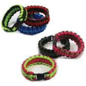 Parachute Cord Bracelet Assortment-Girls Two-Tone Assorted Colours