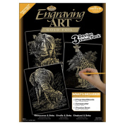 Foil Engraving Art Kit Value Pack 22cm x 29cm -Gold-Rhinoceros/Giraffe/Elephant