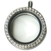 Blue Moon Story Lockets Metal & Glass Locket 1/Pkg-Silver Large Round/Jewelled