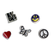 Blue Moon Story Lockets Metal Charm Assortment 5/Pkg-Peace/Love