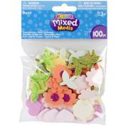 Foam Sticker Confetti-Hearts N Flowers 100/Pkg