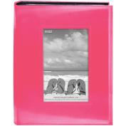 Sewn Frame Photo Album 18cm x 23cm 200 Pockets-Bright Pink