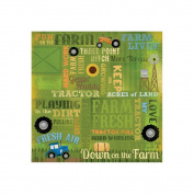 Karen Foster Design Scrapbooking Paper, 25 Sheets, Love My Tractor Collage, 30cm x 30cm