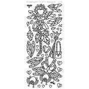 Dragonfly Ladies 2 Peel-Off Stickers-Silver