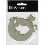 Die-Cut Grey Chipboard Embellishments-Cow Jumps Over The Moon, 9.9cm x 8.9cm