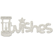 Die-Cut Grey Chipboard Word-Wishes, 15cm x 6.4cm