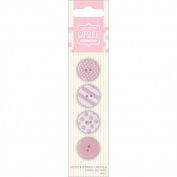 Papermania Spots/Stripes Pastels Large Buttons-Pink 4/Card
