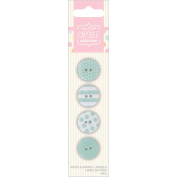 Papermania Spots/Stripes Pastels Large Buttons-Green 4/Card
