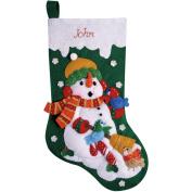 Snowman With Birds Stocking Felt Applique Kit-41cm Long