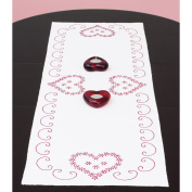Jack Dempsey Stamped Table Runner/Scarf 38cm x 110cm Valentine's Day