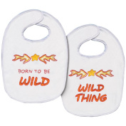 Born To Be Wild Bib Pair Stamped Cross Stitch Kit-18cm - 1.3cm x 28cm Set Of 2