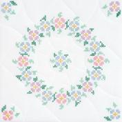 Stamped White Quilt Blocks 46cm x 46cm 6/Pkg-Interlocking XX Spring Blossoms