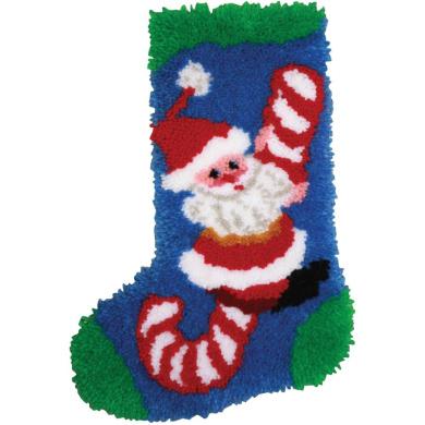 Latch Hook Kit 30cm x 43cm , Candy Cane Santa Stocking