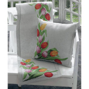 Tulips Runner Counted Cross Stitch Kit-36cm x 110cm Stitched On Linen Cloth