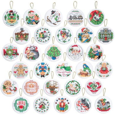 Lotsa Christmas Ornaments Counted Cross Stitch Kit-5.1cm Round 14 Count Set Of 30